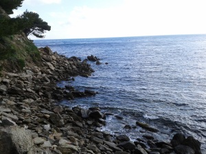 ...looking past the outcrop of rocks