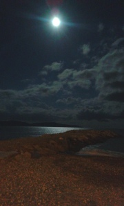 jetty in moonlight